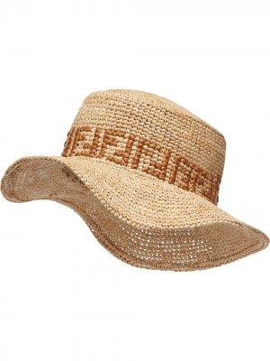 Соломенная шляпа с логотипом FF Fendi. Цвет: нейтральные цвета
