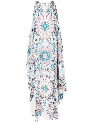 Платье-туника с графичным принтом Roberto Cavalli. Цвет: белый