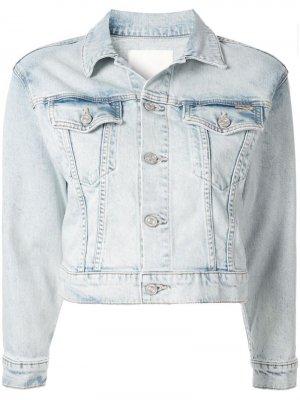 Укороченная джинсовая куртка MOTHER. Цвет: синий