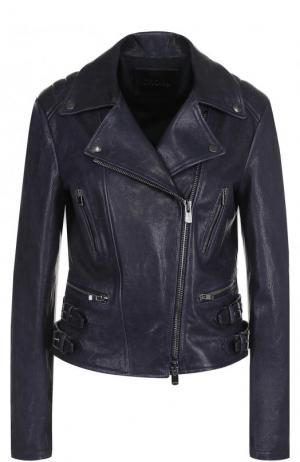 Приталенная кожаная куртка с косой молнией DROMe. Цвет: темно-синий