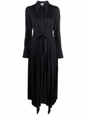Платье-рубашка макси с плиссированной юбкой Patou. Цвет: черный