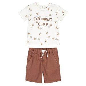 Комплект из футболки и шорт LaRedoute. Цвет: каштановый