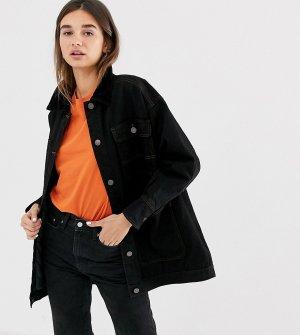 Черная удлиненная джинсовая куртка со стеганой отделкой и вельветовым воротником -Черный Monki