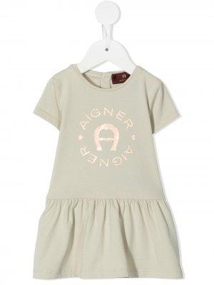Платье-футболка с логотипом Aigner Kids. Цвет: нейтральные цвета