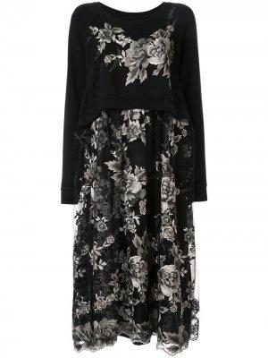 Многослойное платье с цветочной вышивкой Antonio Marras. Цвет: черный