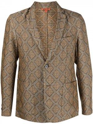 Однобортный пиджак с абстрактным принтом Barena. Цвет: коричневый