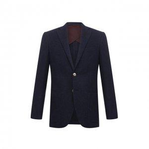 Пиджак из шерсти и кашемира Luciano Barbera. Цвет: синий