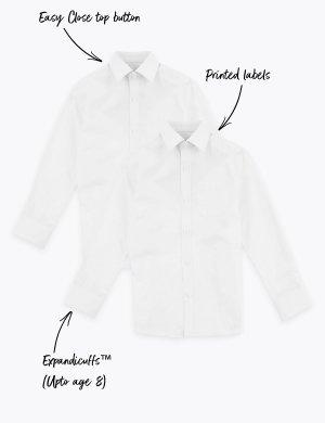 Рубашки из хлопка с обычной посадкой для мальчика (2 шт.) Marks & Spencer. Цвет: белый