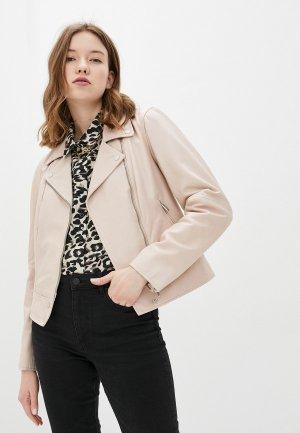 Куртка кожаная Madeleine. Цвет: бежевый