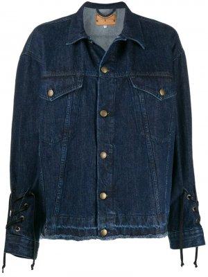Джинсовая куртка с кулиской McQ Alexander McQueen. Цвет: синий