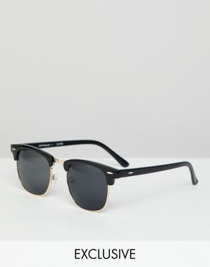 Черные солнцезащитные очки в стиле ретро Reclaimed Vintage. Цвет: черный