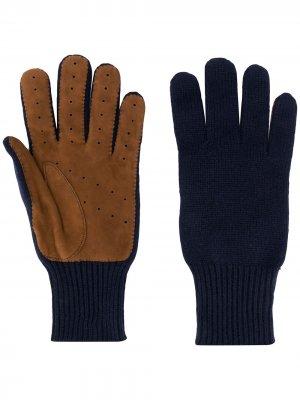 Кашемировые перчатки в стиле колор-блок Brunello Cucinelli. Цвет: синий