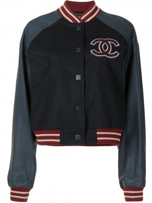 Куртка-бомбер Sports Letterman Baseball Chanel Pre-Owned. Цвет: синий
