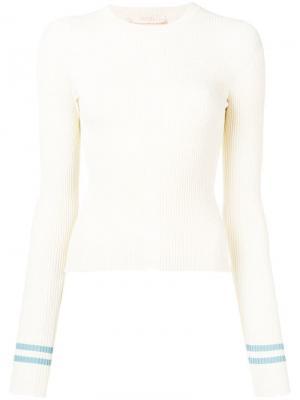 Пуловер в рубчик кроя слим Ssheena. Цвет: белый