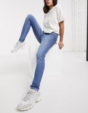 Синие джинсы с завышенной талией -Синий Dr Denim