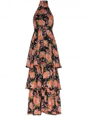 Платье макси с вырезом халтер и цветочным принтом byTiMo. Цвет: черный