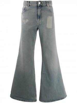 Расклешенные джинсы с эффектом потертости Martine Rose. Цвет: синий