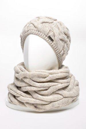 Комплект: шапка, снуд, варежки JAGGA. Цвет: светло-бежевый