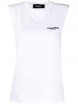 Топ без рукавов с логотипом Dsquared2. Цвет: белый