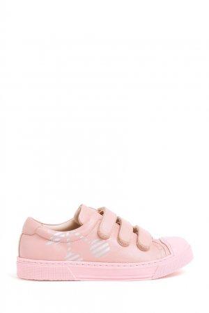 Розовые кожаные кеды Bonpoint. Цвет: розовый