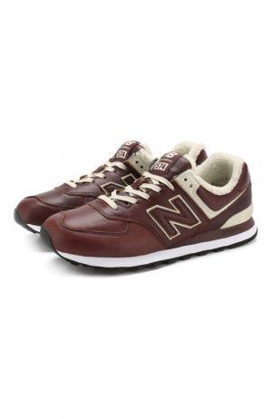 Кожаные кроссовки 574 на шнуровке New Balance. Цвет: темно-коричневый