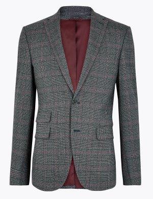Узкий пиджак в клетку M&S Collection. Цвет: индиго микс