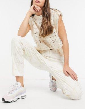 Джинсы в винтажном стиле с мраморным узором -Мульти Guess