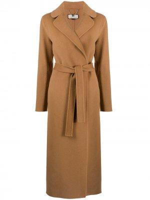 Пальто с поясом Elisabetta Franchi. Цвет: коричневый