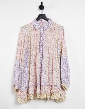 Рубашка-туника с баской и мелким цветочным принтом в стиле пэчворк Lost In You-Многоцветный Free People