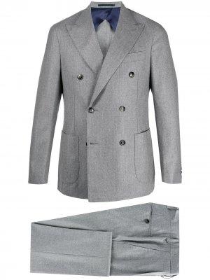 Костюм с двубортным пиджаком Barba. Цвет: серый