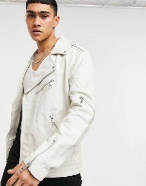 Белая кожаная байкерская куртка -Белый ASOS DESIGN