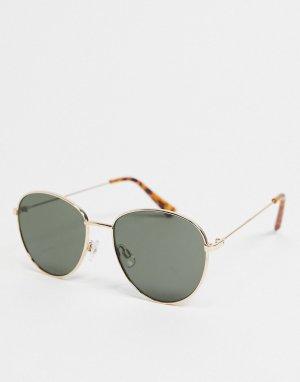 Круглые солнцезащитные очки с зеленоватыми круглыми линзами в золотистой оправе -Золотистый River Island