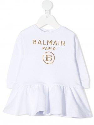 Джемпер с баской и логотипом Balmain Kids. Цвет: белый