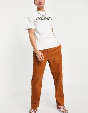 Вельветовые суженные книзу брюки темно-оранжевого цвета -Оранжевый цвет Carhartt WIP