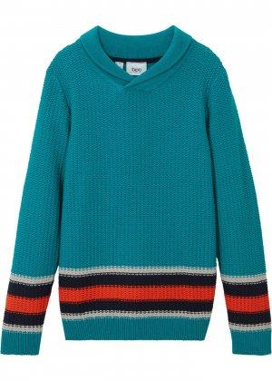Пуловер для мальчика bonprix. Цвет: сине-зеленый