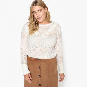 Пуловер с вырезом круглым, 100% хлопок CASTALUNA. Цвет: слоновая кость,темно-зеленый