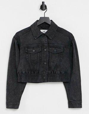 Черная джинсовая куртка -Черный цвет Hollister