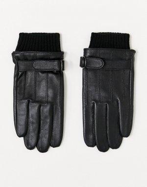 Черные кожаные перчатки для сенсорных экранов с манжетами -Черный ASOS DESIGN