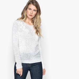 Пуловер с круглым вырезом из трикотажа узором ANNE WEYBURN. Цвет: белый,бирюзовый,малиновый,темно-синий