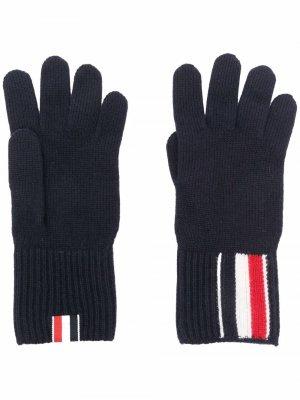 Перчатки с полосками RWB Thom Browne. Цвет: синий