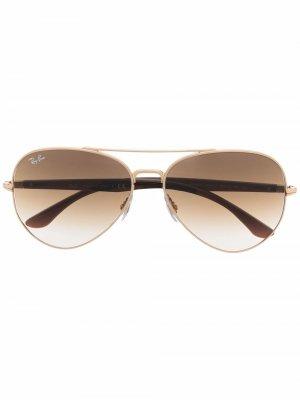 Солнцезащитные очки-авиаторы с эффектом градиента Ray-Ban. Цвет: коричневый