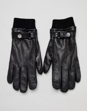 Черные кожаные перчатки с шерстяной подкладкой и манжетами в рубчик PS Paul Smith. Цвет: черный