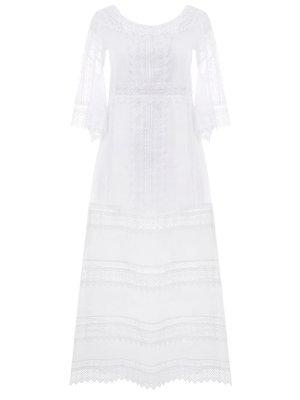 Платье с шитьем-кружевом Charo Ruiz. Цвет: белый