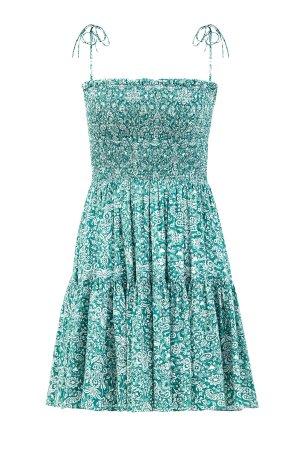 Легкое платье-сарафан из шелкового шифона с тонкими бретелями на завязках ALEXANDER TEREKHOV. Цвет: зеленый