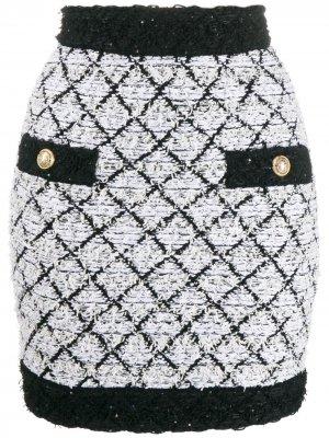 Твидовая юбка Lattice Balmain