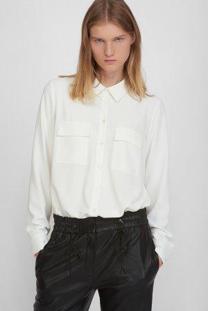 Блузка с нагрудными карманами клапанами VASSA&Co. Цвет: белый