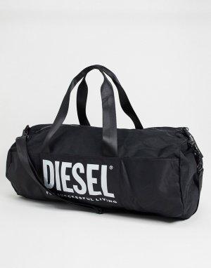 Черная спортивная сумка с большим логотипом -Черный Diesel