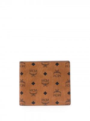 Бумажник из искусственной кожи MCM. Цвет: коричневый