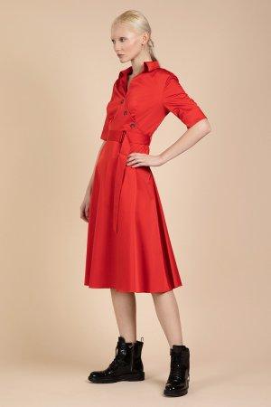 Яркое платье с коротким рукавом VASSA&Co. Цвет: красный