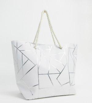 Эксклюзивная парусиновая пляжная сумка белого цвета -Белый South Beach